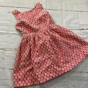 Do+Be geometric red white fit flare dress low back